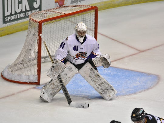 Knoxville goaltender Brian Billett minds the net during Saturday's game against Mississippi at the Civic Coliseum.