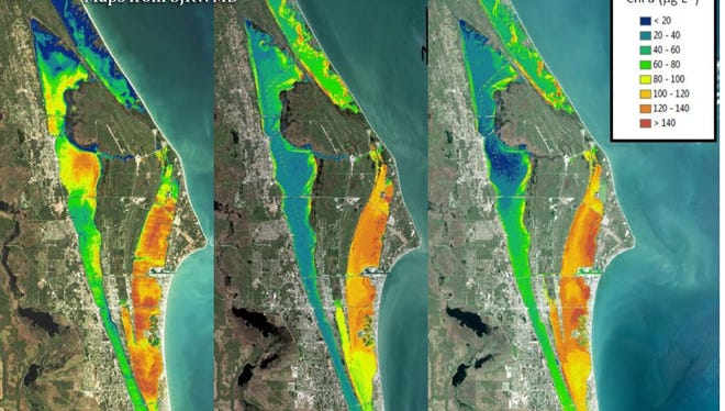 Recent satellite photos show the Indian River Lagoon is experiencing similar conditions that led up to the bad algae bloom in 2016 that resulted in one of the worst fish kills in lagoon history.