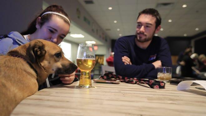 Rachael Szymanski of Green Bay sits with her dog, Chloe, at the bar at Bark & Brew.