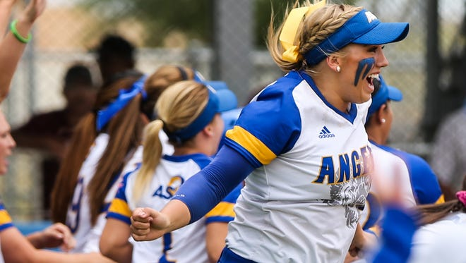 Angelo State's Kenedy Urbany cheers as teammates make  their way around the bases during the South Central Super Regional game against Texas Woman's Saturday, May 20, at Mayer Field.