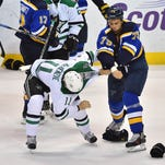 St. Louis Blues right wing Ryan Reaves (75) fights
