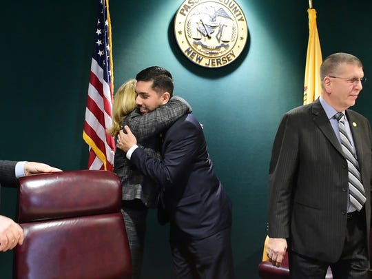 Assad Akhter after being sworn in as the first Muslim-American to hold a seat on the Passaic County Board of Freeholders.