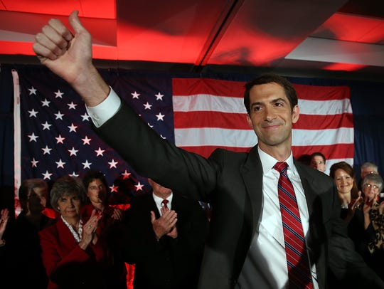Republican Sen.-elect Tom Cotton, R-Ark., greets supporters