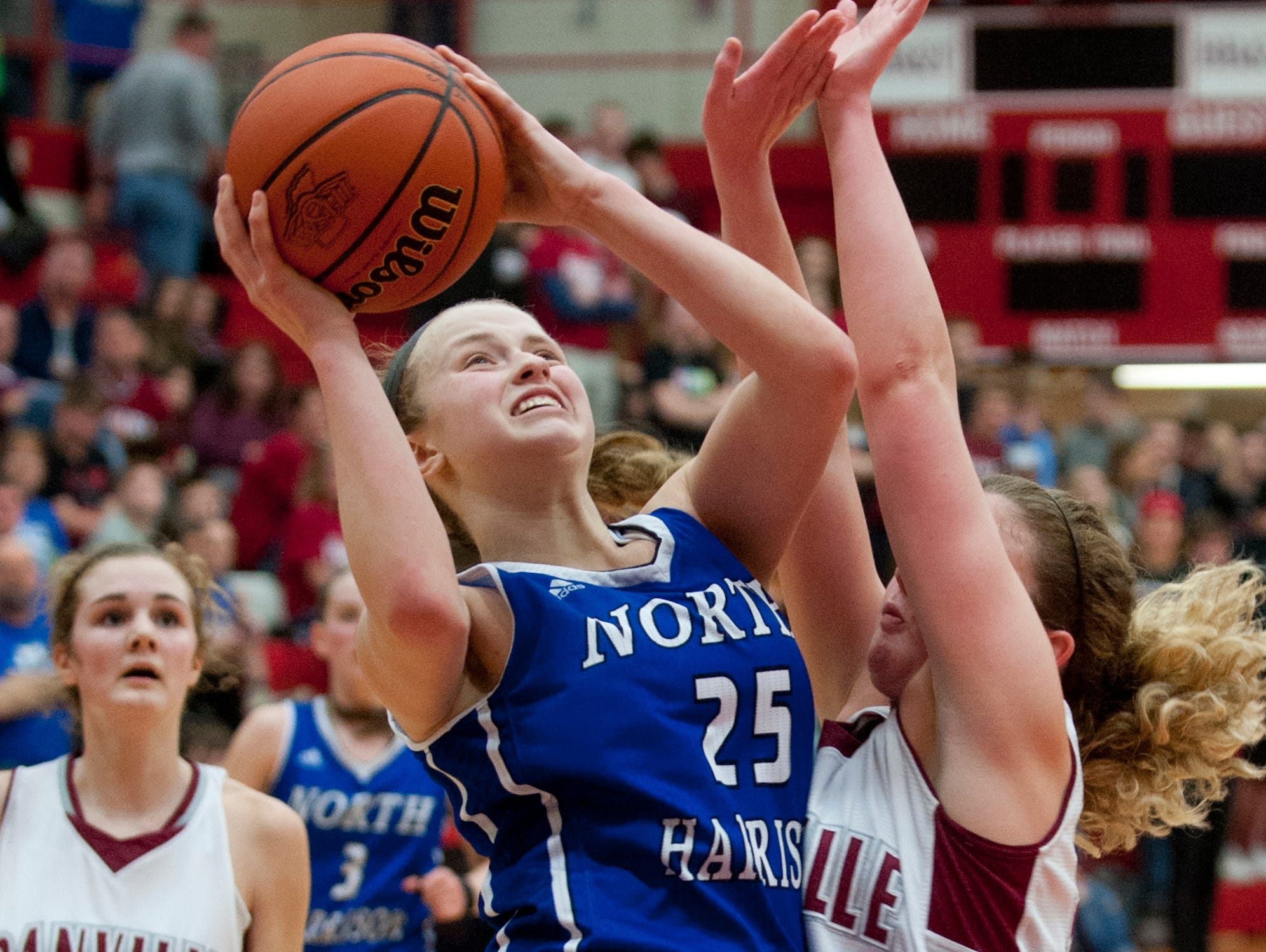 North Harrison guard Cali Nolot collides with Danville (In.) guard Lexi Riggles as Nolot drives to the basket. 18 February 2017