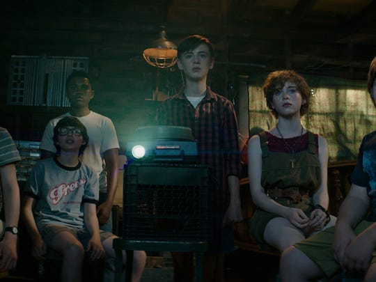 "Wyatt Oleff (from left), Finn Wolfhard, Chosen Jacobs, Jaeden Lieberher, Sophia Lillis and Jeremy Ray Taylor play the heroic kids of ""It."""