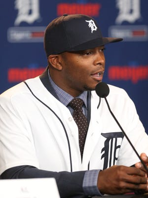 Detroit Tigers Justin Upton talks about signing his new contract on Wednesday, January 20,2016 at Comerica Park in Detroit MI.