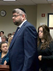 Jerome Menchel and Mottel Friedman, two of the 26 people charged in the Lakewood fraud sweep, appear before Judge Linda Baxter at State Superior Court in Toms River Wednesday, November 1, 2017.  They were there to find out if they'll be granted pretrial intervention.