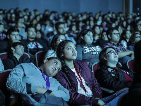 Students watch the documentary 'Stumped' by Can Ulkay on Tuesday, January 8, 2018 at the Perfoming Art Center at Indio High School as part of the Student Screening Day at the 29th Annual Palm Springs International Film Festival.