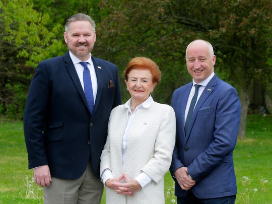 (Left to right) Terry McQuade, regional manager of Primark, Breege O'Donoghue, group director of business development and new markets for Primark and Tim Kelly, director of communications for Primark, talk about Primark's move to the United States this year and opening in Sears in Freehold Raceway Mall in Freehold Township.