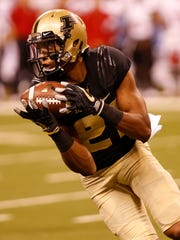 Purdue wide receiver Anthony Mahoungou with a pass reception in the fourth quarter against Louisville Saturday, September 2, 2017, in Lucas Oil Stadium in Indianapolis. Louisville defeated Purdue 35-28.
