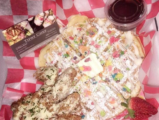 Fruity Pebbles Waffle and Rippin Chicken from Sir's