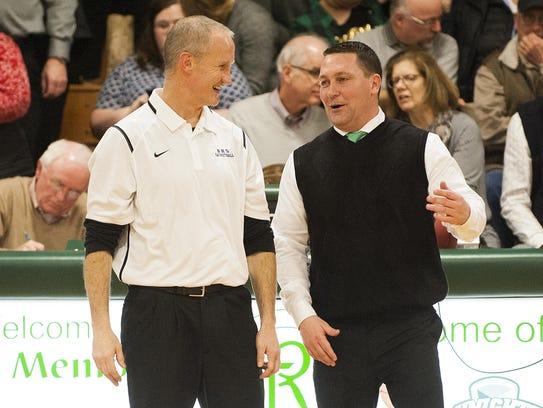 Burlington head coach Matt Johnson (left) and Rice