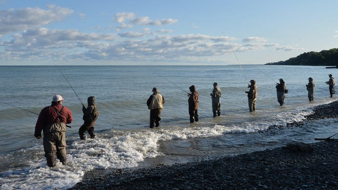 Anglers fish for steelhead Sept. 19 in Lake Erie at Avonia Beach Park in Fairview Township.