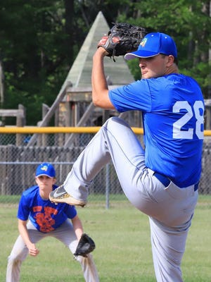 Matt Bush of the EUP Wood Ducks pitches during a game this season. The Wood Ducks capped their season with a 2-1 finish at the U.P. Championships.