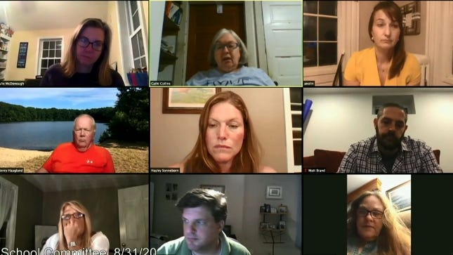 During its virtual meeting Monday night, the school committee heard from a teacher's union official that some teachers are anxious about returning to the classroom during the coronavirus pandemic. The committee unanimously supported a Memorandum of Understanding with the union that spells out the specfics of the hybrid and remote-learning models students will be engaged in starting September 16.