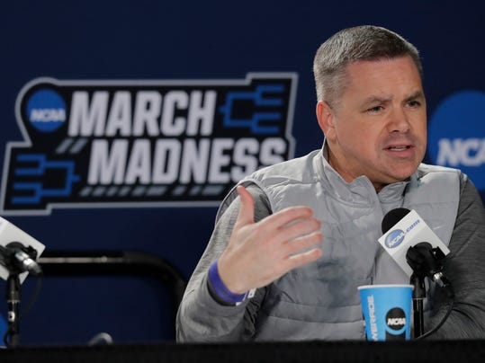 Ohio State head coach Chris Holtmann talks to reporters Friday, March 16, 2018, in Boise, Idaho. Ohio State will play Gonzaga, Saturday in a second-round game in the NCAA men's college basketball tournament. (AP Photo/Ted S. Warren)