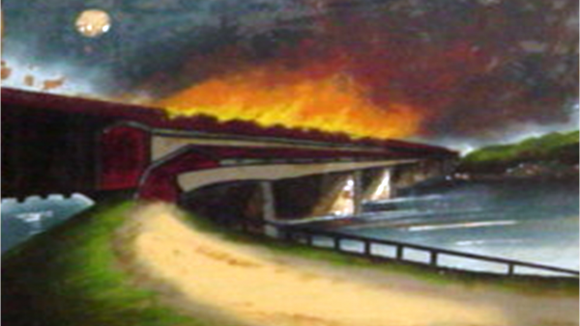 Painting of the burning of the Columbia-Wrightsville Bridge. Scott Mingus photo. Painting at the Columbia Historical Society.