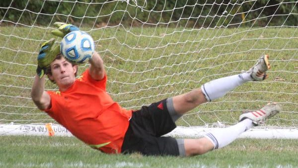 Suffern goalie Matt Ryan makes a save during a game at with Clarkstown South at Suffern Tuesday. The Mounties won 1-0.