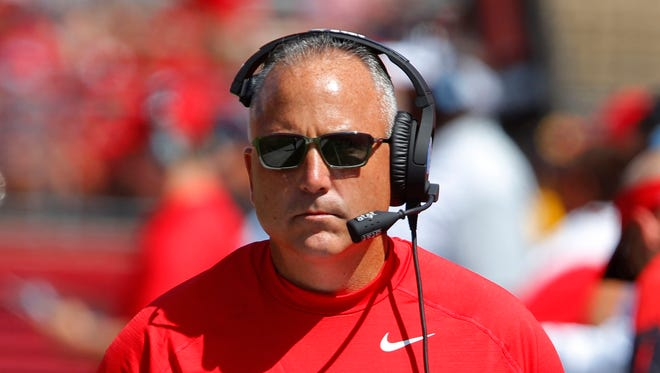 Rutgers coach Kyle Flood is in the middle of a three-game suspension.