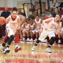 Kendra Griffin dribbles up the court Tuesday night.