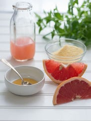 Ingredients for a Grapefruit Clarifying Mask.