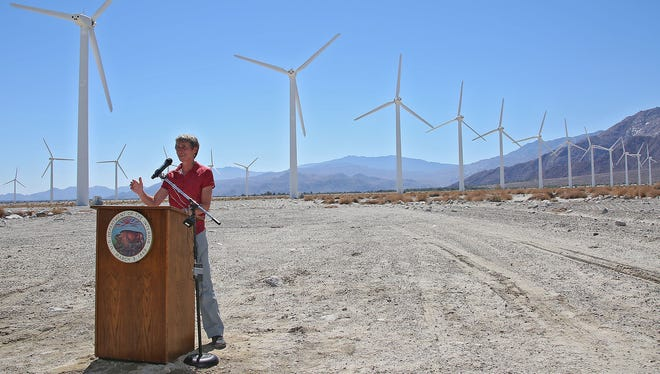Secretary of the Interior Sally Jewell announces the preliminary version of the Desert Renewable Energy Conservation Plan (DRECP) near the Palm Springs windmills, Tuesday, September 23, 2014.