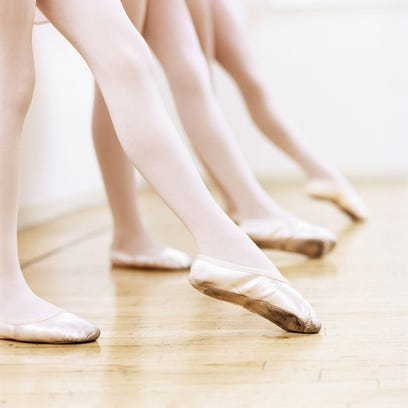 Low Section View of a Line of Female Ballet Dancers Practicing in the Dance Studio