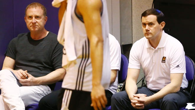 Owner Robert Sarver and GM Ryan McDonough (right) at the Phoenix Suns pre-draft workout on Monday, May 29, 2017 at Taking Stick Resort Arena in Phoenix, Ariz.