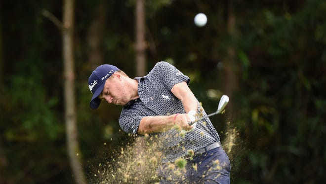 Justin Thomas of the United States hits his tee shot on the 7th hole during the first round of the CJ Cup at Nine Bridges on Oct. 19 in Jeju, South Korea.