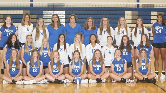 BOONVILLE VOLLEYBALL TEAM (front row, left to right) Abby Fuemmeler, Addy Nichols, Kylee Turner, Ava Esser, Cassidy Bishop, Addie Hubach and Kinley Fox. (second row, left to right) Ava Parman, Claire Witting, Ashlen Homan, Kennedy Renfrow, Sophi Waibel, Jodie Bass, Hope Mesik, Molly Schuster and Heather Hall. (back row, left to right)Alyssa Gross, Peyton Luscombe, Lillian Rohrbach, coach Brittney Lowe, head coach Dina Herzog, coach Joedi Herzog, Nora Morris, Addison Brownfield, Genae Hodge and Twelva Mason.