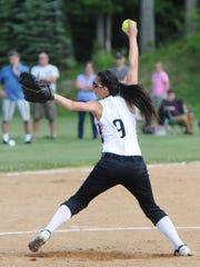 Marlboro's Taylor Felicello pitches during the Class B Regional Semi Final versus Rye Neck held at Rhinebeck High School on Thursday.