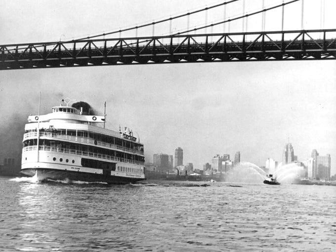 The steamship Ste. Claire passes under the Ambassador