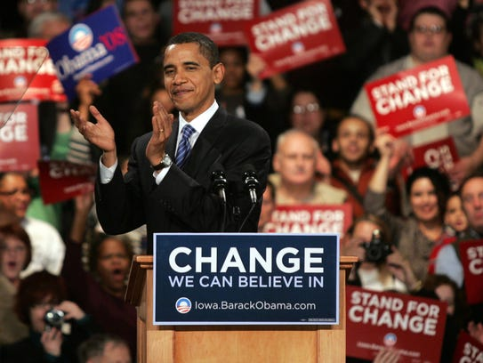 Democratic presidential hopeful Barack Obama addresses