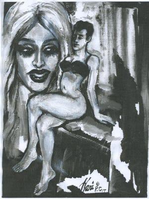 Painting of Stephen Reeder as Ophelia Belle, and Iowa City drag queen. Artist: Hani Elkadi
