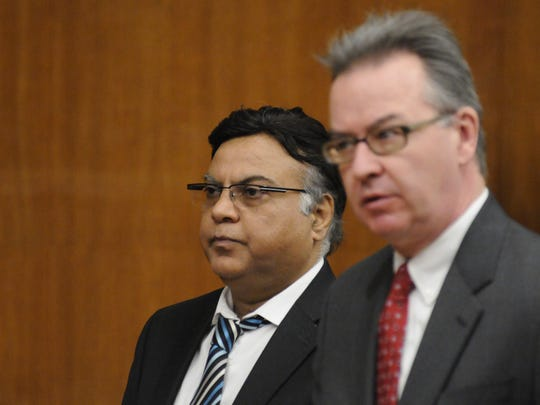 Dr. Raja Jagtiani, left, with his attorney, Aidan O'Connor, at his sentencing on Friday.