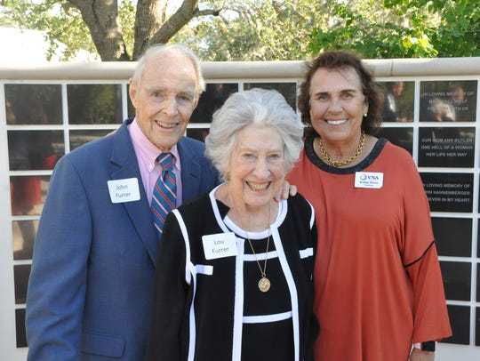 John and Lou Furrer, left, with Kathie Pierce, VNA