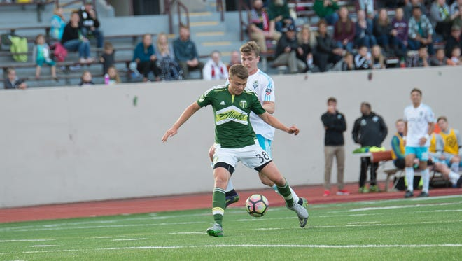 Timbers U23 player Francesco Amorosino during a game against the Seattle Sounders U23s.