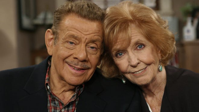 """Jerry Stiller, left, and his wife, Anne Meara, pose on the set of """"The King of Queens,"""" at Sony Studio in Culver City, Calif. Meara died on May 23, AP reported."""