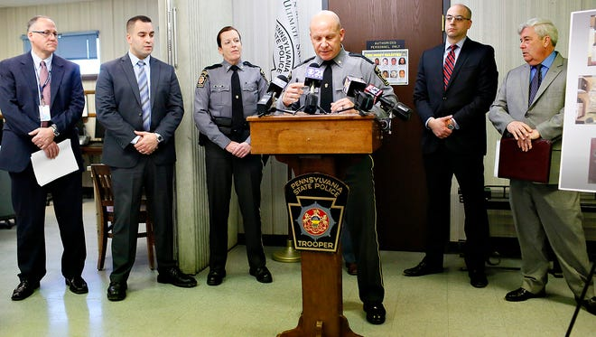 Pennsylvania State Police Captain Adam Kosheba speaks during a press conference regarding the arrest and  charges being filed against Howard Timothy Cofflin Jr., at the Pennsylvania State Police Department in Loganville, Pa. on Wednesday, Jan. 6, 2016. (Dawn J. Sagert - The York Dispatch)