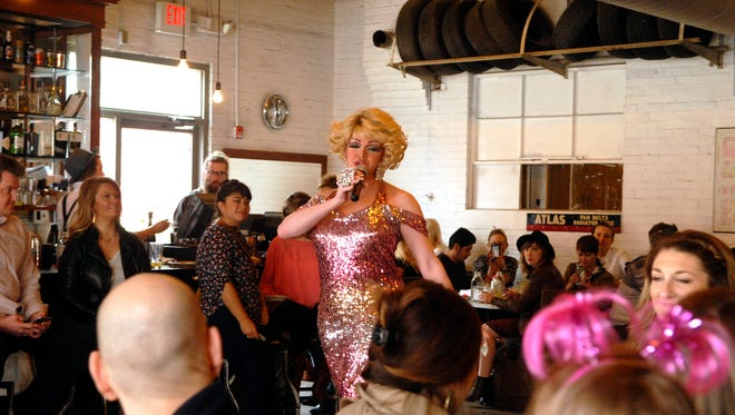 Savana Lynn performs at the Kentuckiana AIDS Alliance's Drag Brunch and Fundraiser at Garage Bar on Market St.   March. 19, 2016