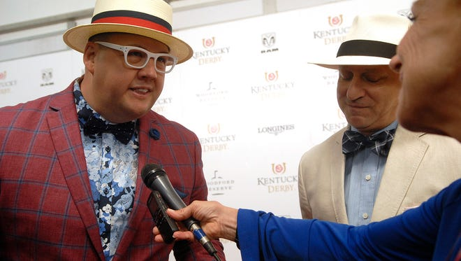 """""""Top Chef"""" judges and chefs Graham Elliot and Tom Colicchio pose for a photo on the Derby red carpet.   May 05, 2018"""