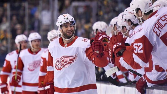 Detroit Red Wings center Frans Nielsen is congratulated by teammates after scoring a goal during the first period against the Boston Bruins at TD Garden on  March 6, 2018.