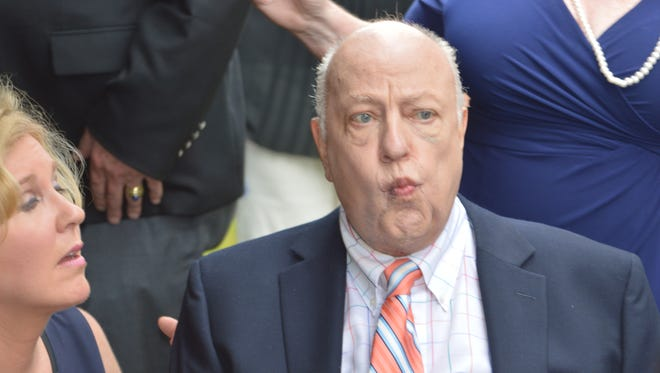 Roger Ailes, at the July,2015 groundbreaking of the Roger Ailes Senior Center, wants control over construction of the $1.5 million public project in exchange for a $500,000 gift.