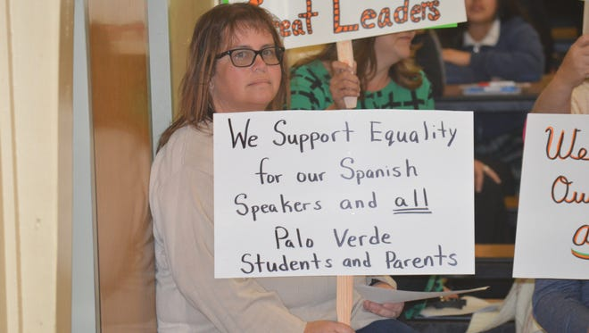 Palo Verde teachers show support for board members during a meeting on Wednesday.