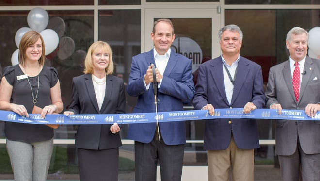 City and company officials celebrate the opening of a new Rheem office in Montgomery in 2017.