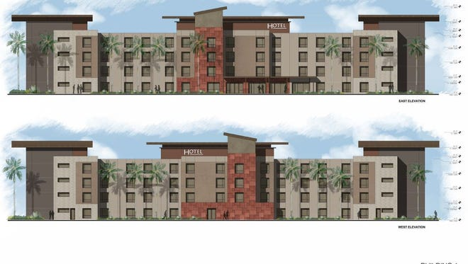 Rendering by Bickel Group Architecture for hotel at planned Monterey Crossing development in Palm Desert.