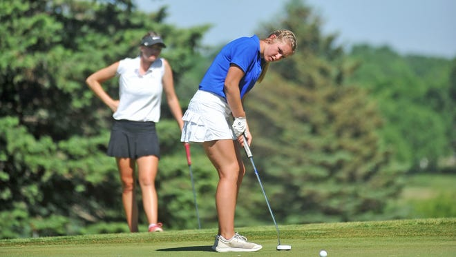 Kate Wynja putts during the State A Girls Golf Tournament at the Rocky Run Golf Course in Dell Rapids Monday, June 5, 2018.
