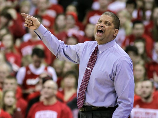 Rutgers coach Eddie Jordan yells to his team during the second half of an NCAA college basketball game against Wisconsin Saturday, Jan. 2, 2016, in Madison, Wis. Wisconsin won 79-57. (AP Photo/Andy Manis)