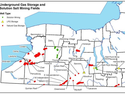 Map of gas and LPG storage facilities