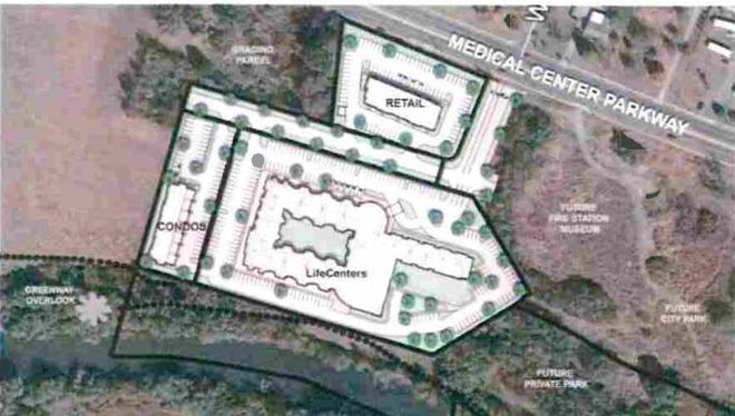 This rendering shows a LifeCenters Development Group LLC of Franklin proposal to build 167 senior housing units, condominium building with 36 units, and a building for a restaurant and retail strip center along the south side of Medical Center Parkway with a proposed extension of Warren Street and near the Stones River by where the Murfreesboro government is building a Fire Station Four that's relocating from the Mitchell-Neilson schools neighborhood.